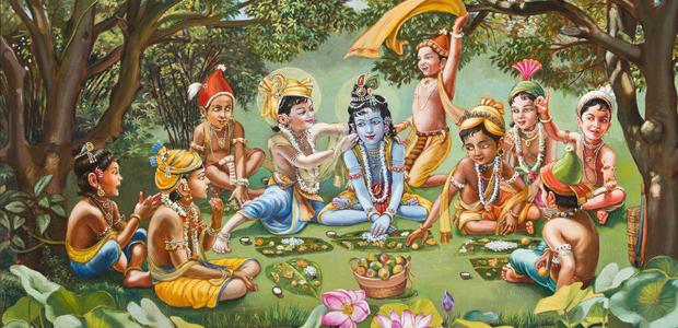Krishna a pasztorfiukkal